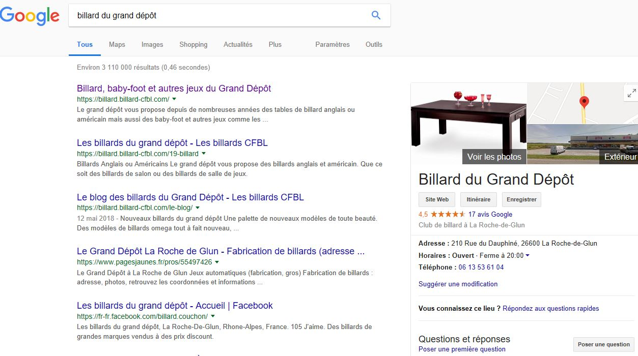 tables de billard du grand dépôt