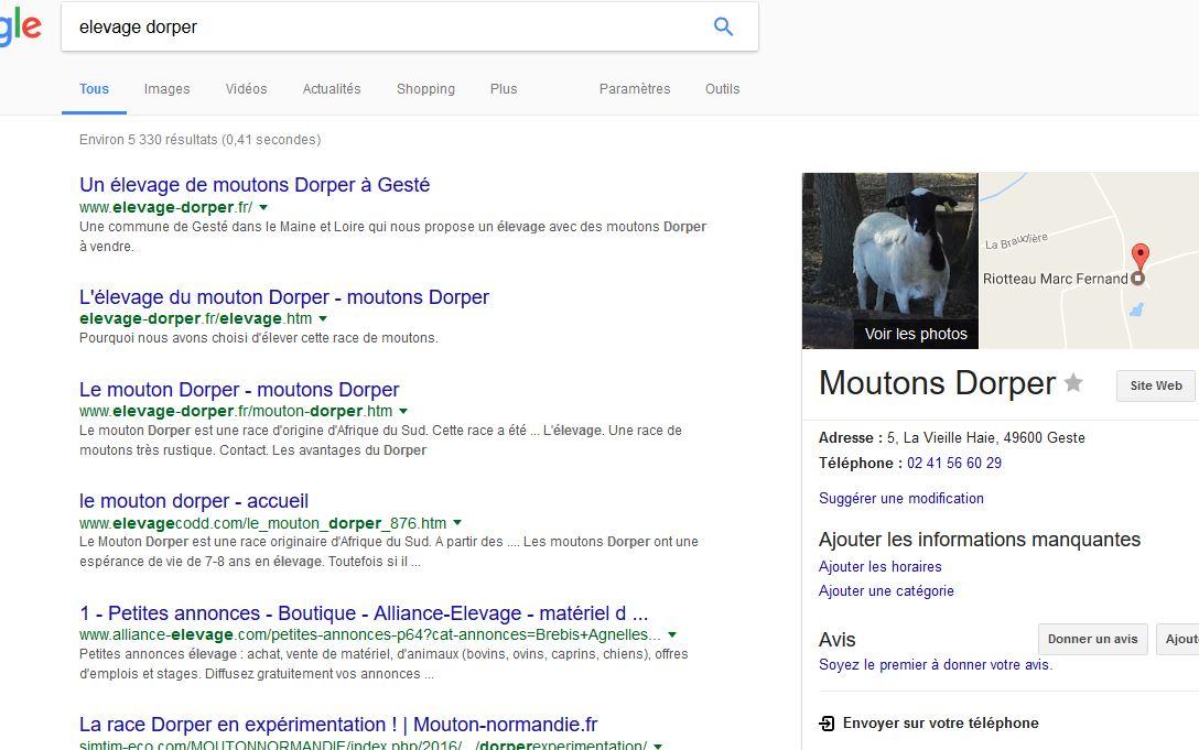 En bonne position sur google